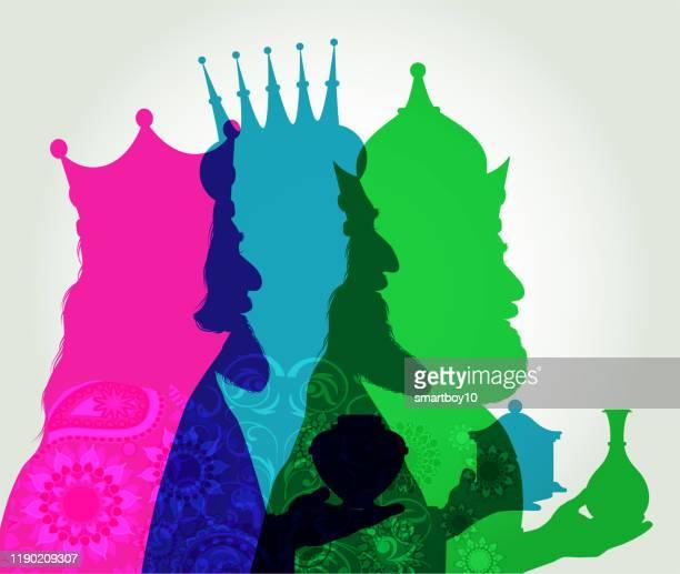 ilustraciones, imágenes clip art, dibujos animados e iconos de stock de tres sabios - tarjeta de navidad - los tres reyes magos