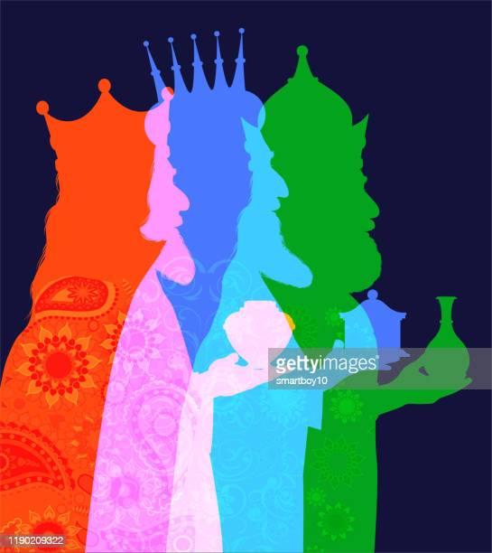 three wise men - christmas card - north star stock illustrations