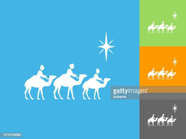 three wise men flat icon on blue background - three wise men stock illustrations, clip art, cartoons, & icons