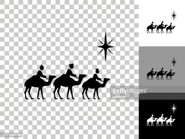 ilustraciones, imágenes clip art, dibujos animados e iconos de stock de icono de tres sabios en el fondo transparente del tablero de ajedrez - lostresreyesmagos