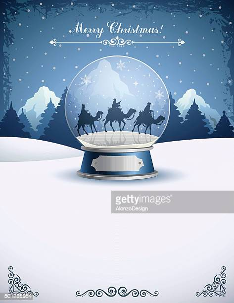 three wise men in a snow globe - three wise men stock illustrations, clip art, cartoons, & icons
