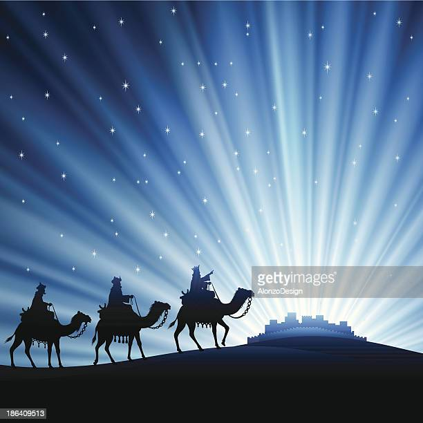 three wise men silhouetted against starry sky - three wise men stock illustrations, clip art, cartoons, & icons