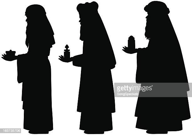 three wise men silhouettes - three wise men stock illustrations, clip art, cartoons, & icons