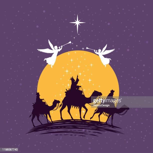 ilustraciones, imágenes clip art, dibujos animados e iconos de stock de tres sabios, tres reyes. natividad escena de navidad. - los tres reyes magos
