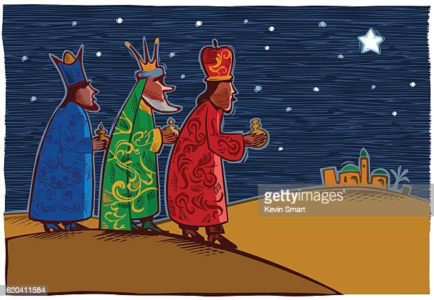 three wise men - three kings - nativity scene stock illustrations