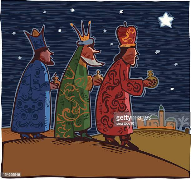 three wise men - three people stock illustrations