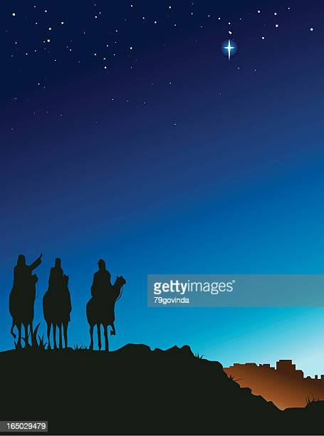 three wise men - north star stock illustrations