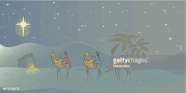 three wise men - jesus stock illustrations, clip art, cartoons, & icons