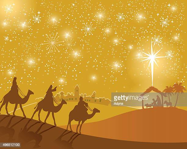 three wise men - nativity scene stock illustrations