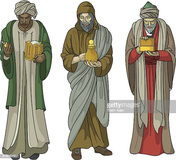 three wise men with gifts on white background - three wise men stock illustrations, clip art, cartoons, & icons