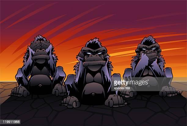 three wise monkeys (see, hear, speak no evil) - humourless stock illustrations, clip art, cartoons, & icons
