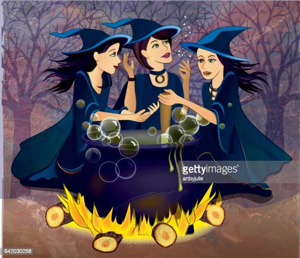 three witches from macbeth - cauldron stock illustrations, clip art, cartoons, & icons