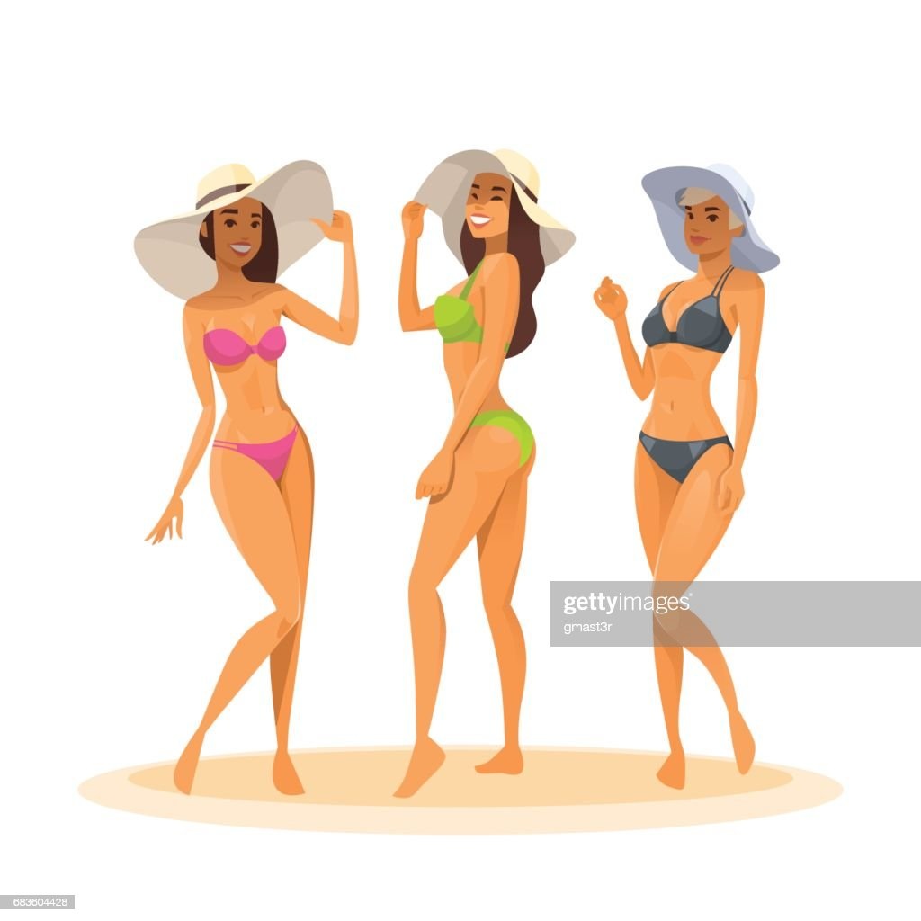 Three Woman In Bikini, Full Length Long Leg Sexy Girls Wear Hat Happy Smiling