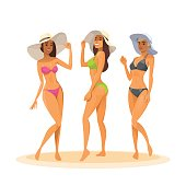 Three Woman In Bikini, Full Length Long Leg Sexy Girls Wear Hat Happy Smiling