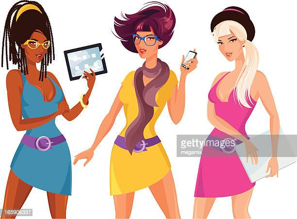 three woman with electronics. - braided hair stock illustrations, clip art, cartoons, & icons