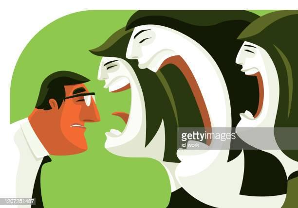 three women blaming businessman - four people stock illustrations