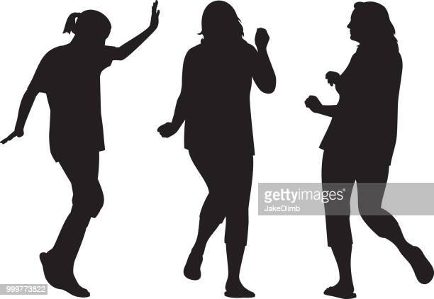 three women dancing silhouettes - mature adult stock illustrations