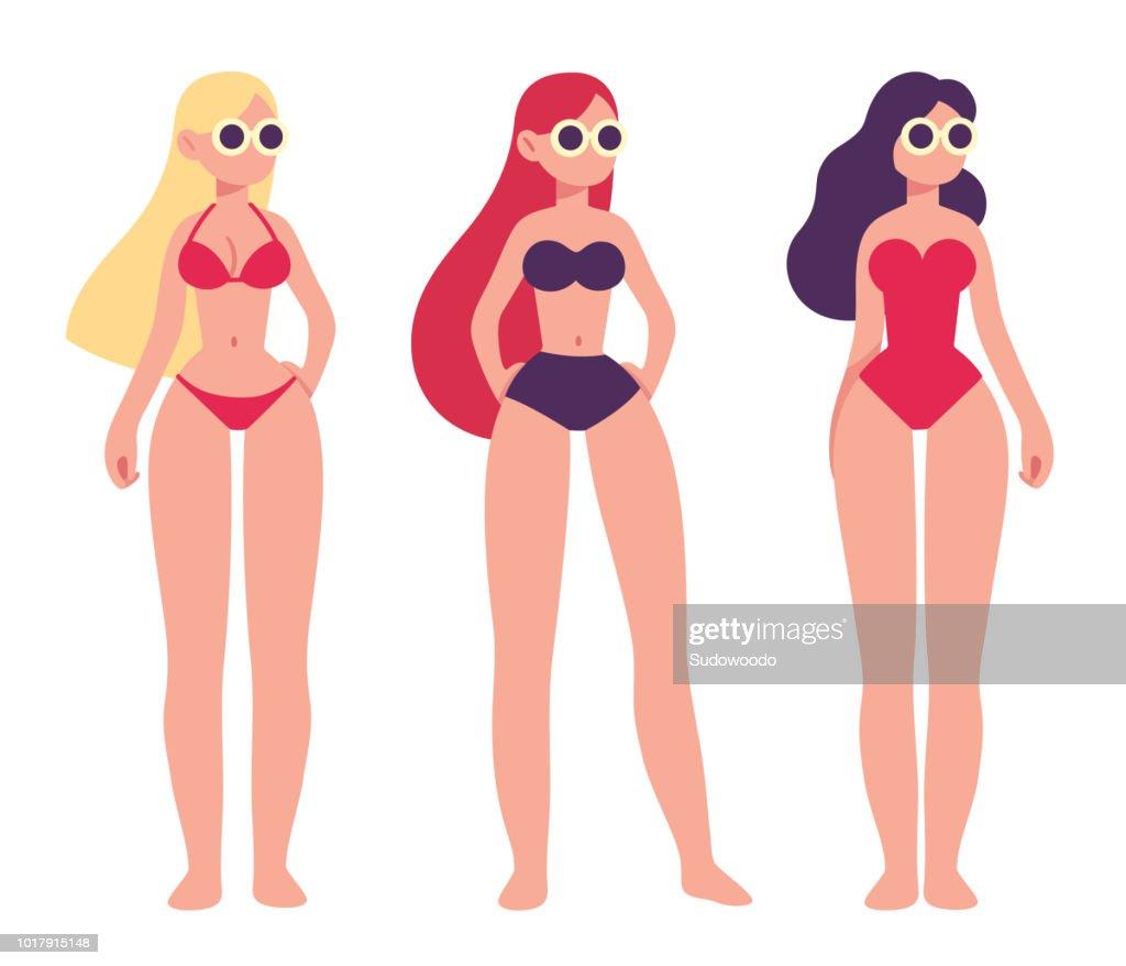 Three women in swimsuits