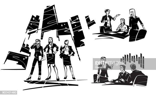 three women leaders - three people stock illustrations