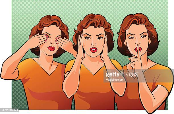 Three women representing see hear and speak no evil
