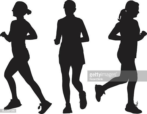 three women running silhouettes - women's track stock illustrations, clip art, cartoons, & icons