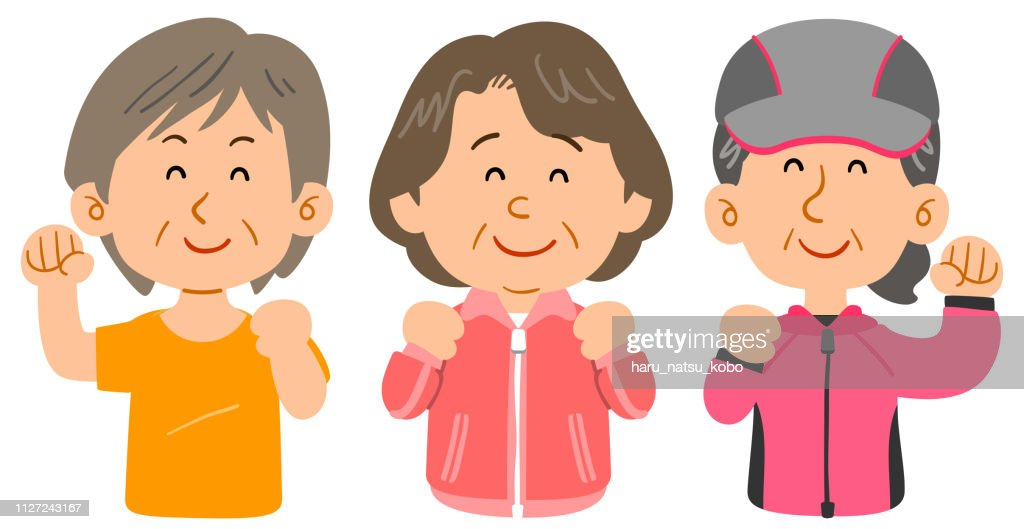 Three women wearing sportswear , Middle-aged and upper age upper body