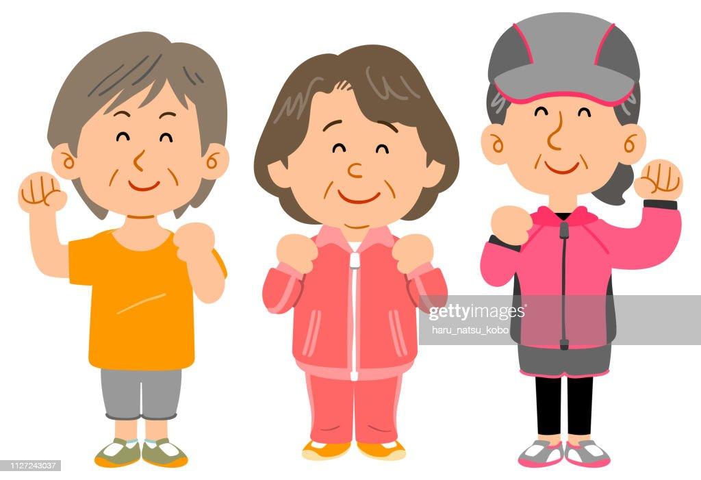 Three women wearing sportswear, Middle-aged whole body