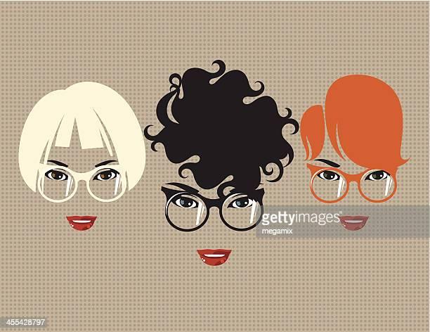 ilustrações de stock, clip art, desenhos animados e ícones de três mulheres com óculos. - cabelo cacheado