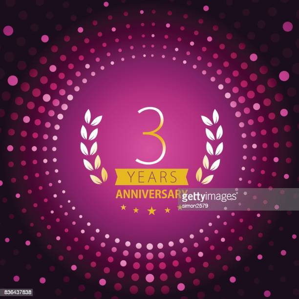 three years anniversary icon with purple color background - anniversary card stock illustrations