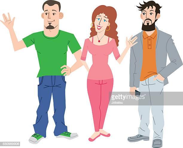 ilustraciones, imágenes clip art, dibujos animados e iconos de stock de tres jóvenes - obesidad infantil
