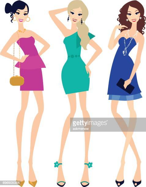 three young women in cocktail dresses - cocktail dress stock illustrations