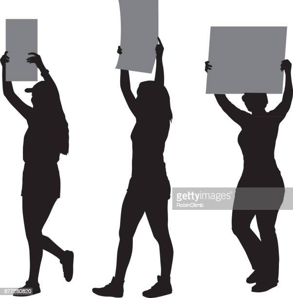 three young women protester silhouettes - protestor stock illustrations, clip art, cartoons, & icons