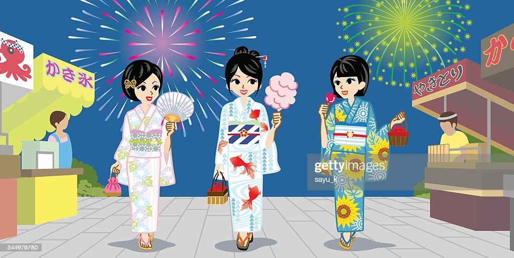 Three Yukata girls in Japanese Summer Firework Display