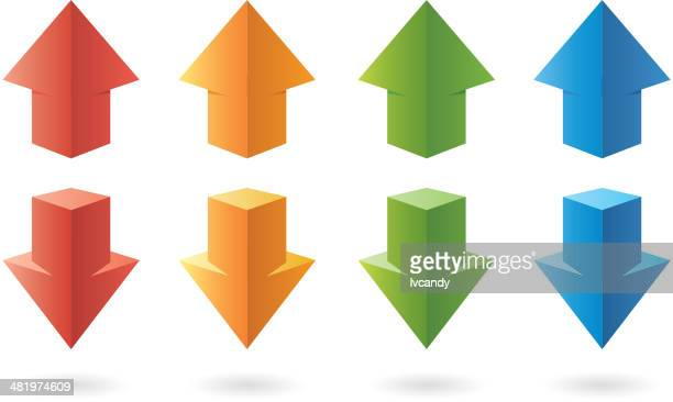 three-dimensional color arrows - three dimensional stock illustrations