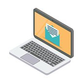 three-dimensional laptop. mail client. isometric illustration isolated white background.
