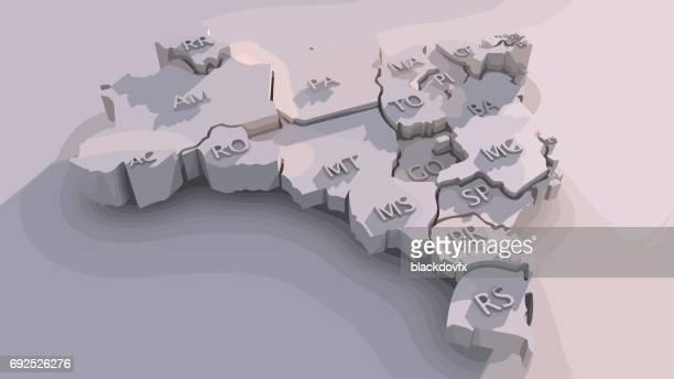 ブラジルの状態の三次元マップ - ブラジリア連邦直轄区点のイラスト素材/クリップアート素材/マンガ素材/アイコン素材