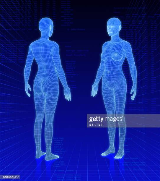 Three-dimensional woman bodies on abstract background