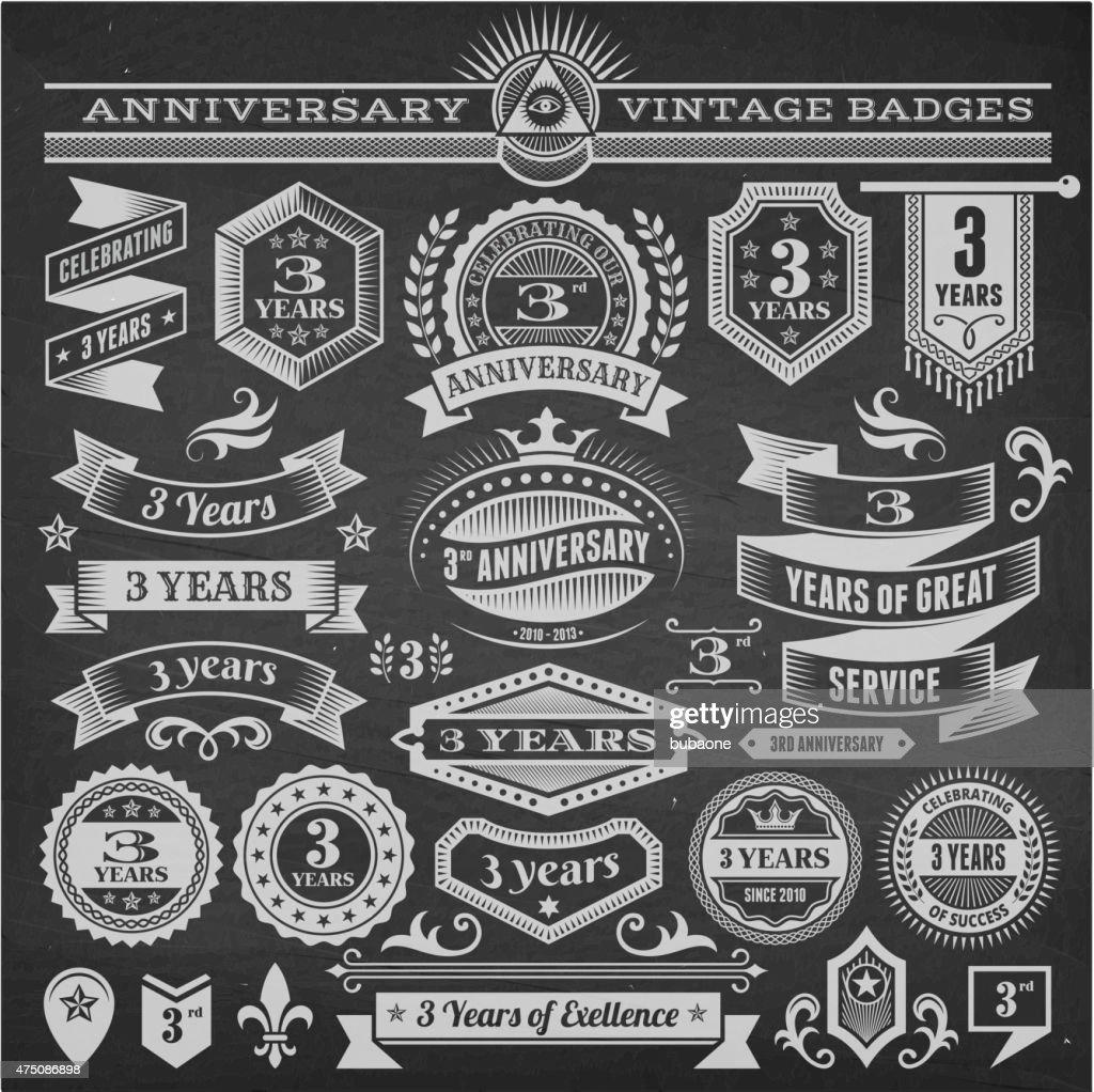 threee year anniversary hand-drawn chalkboard royalty free vector background
