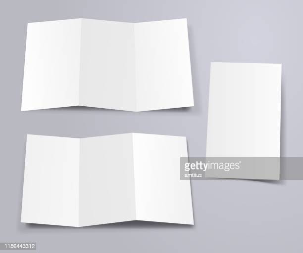 illustrations, cliparts, dessins animés et icônes de triple modèle de dépliant avant et arrière - brochure