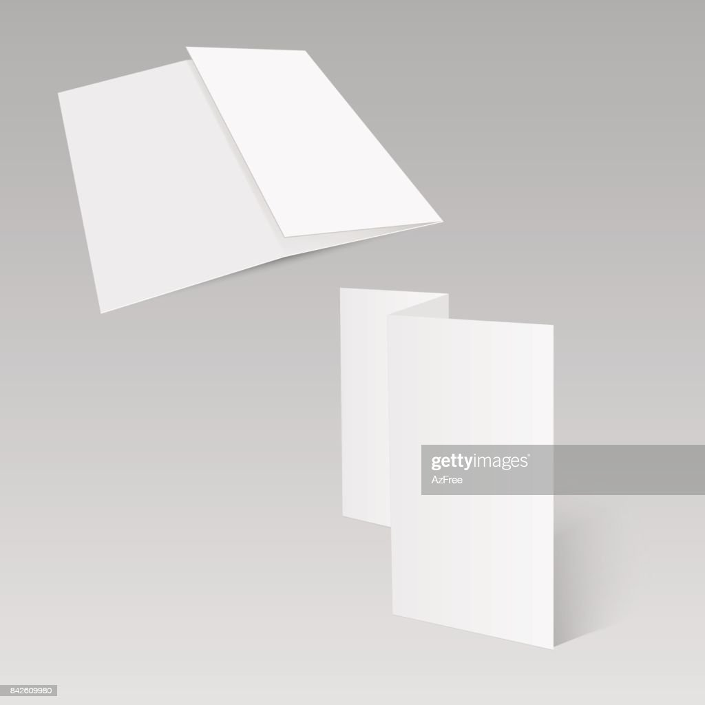 Threefold white template paper. Vector illustration.