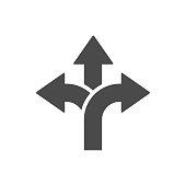 Three-way direction arrow icon