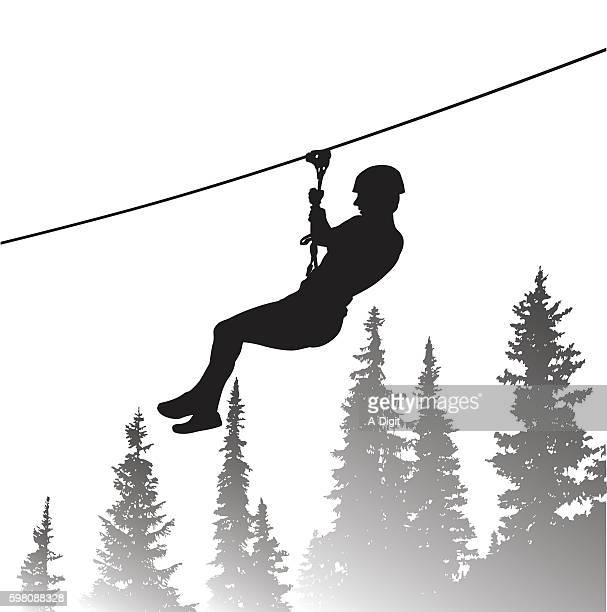 thrilling zip line adventure - steel cable stock illustrations