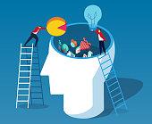 Throw data and ideas into the brain