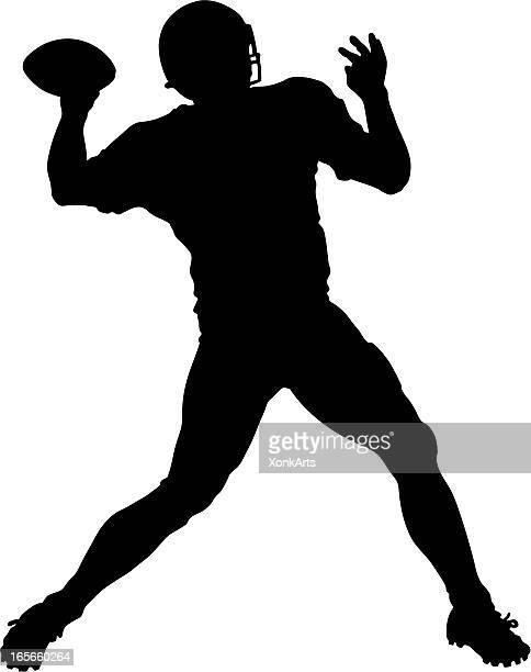 qb throw silhouette - quarterback stock illustrations