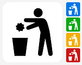 Throwing Out Garbage Icon Flat Graphic Design