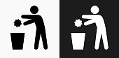 Throwing Out Garbage Icon on Black and White Vector Backgrounds
