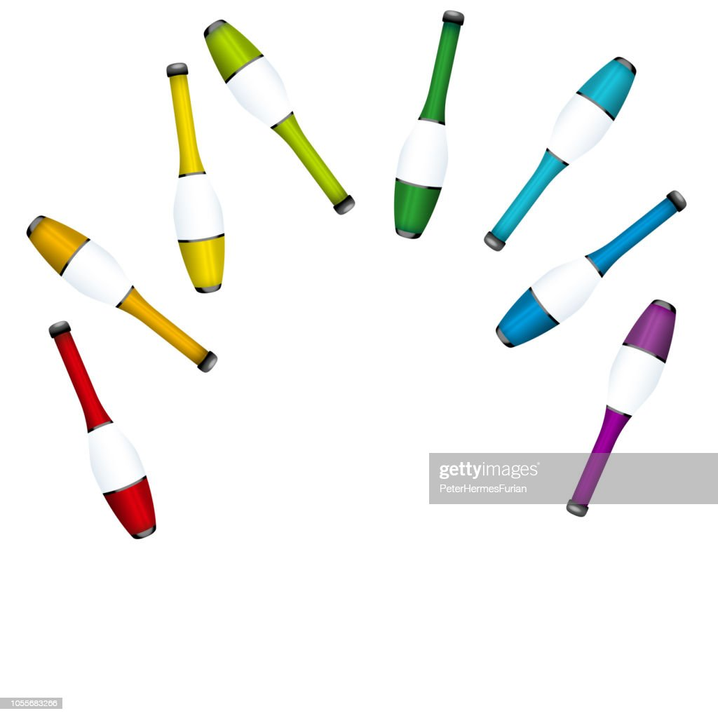 Throwing up juggling clubs, insert any person. Colored set for acrobats to juggle a highly concentrated performance. Isolated 3d vector illustration on white background.