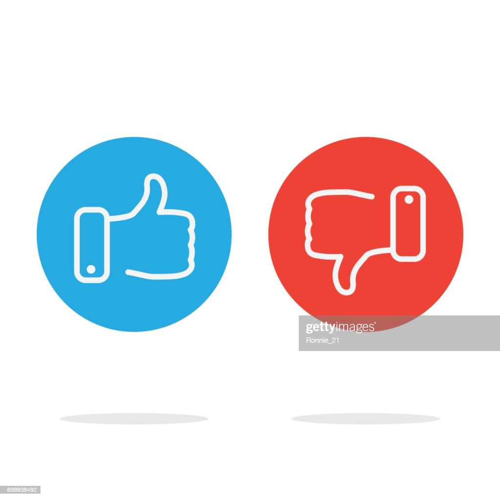 thumb icons. like and dislike. vector illustration.