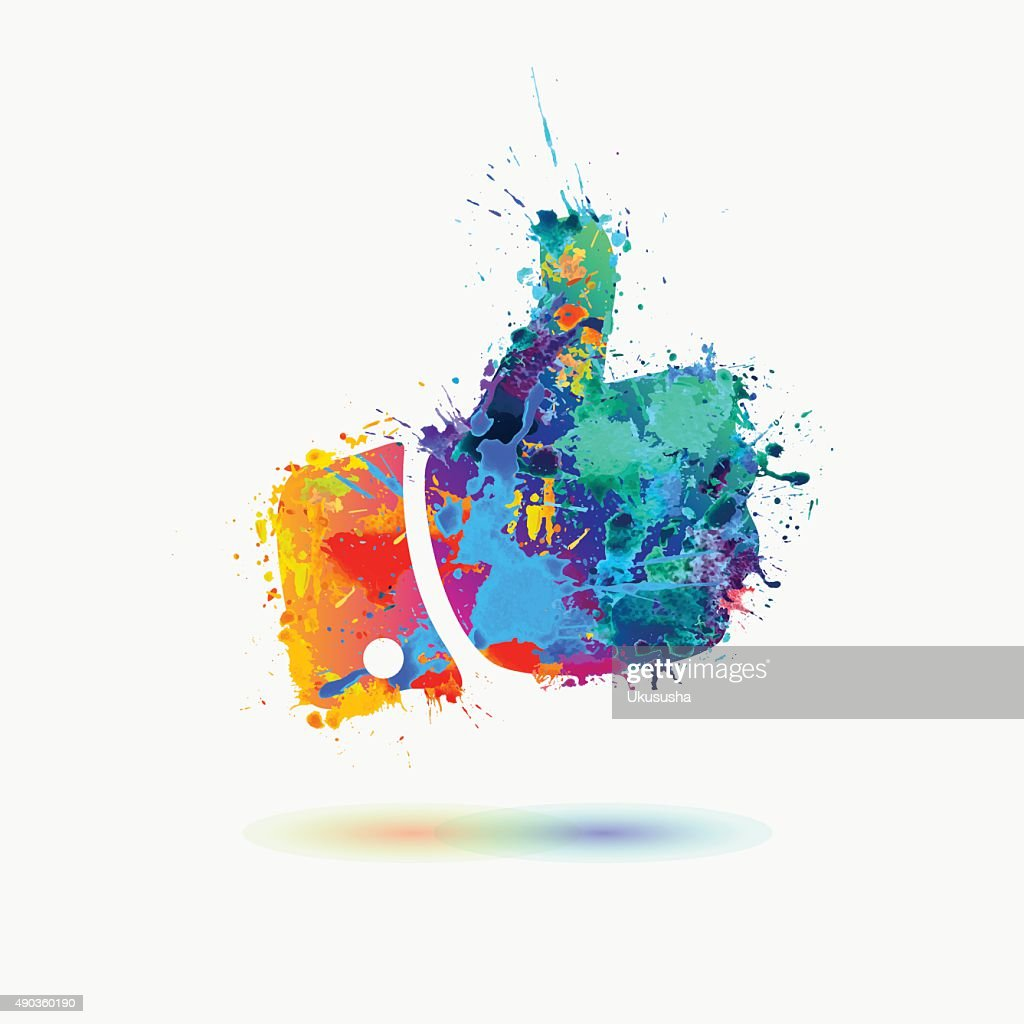 Thumb up colorful sign of watercolor splashes