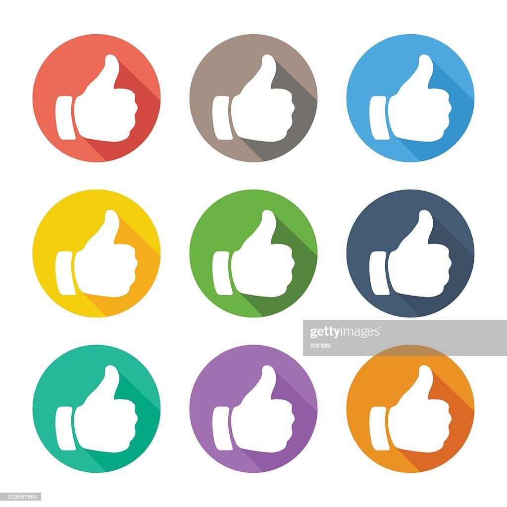 Thumb up flat icons